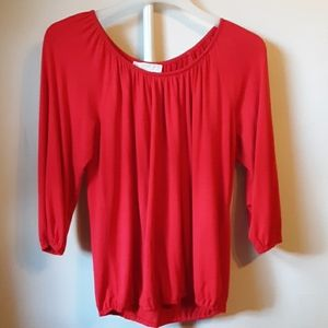 EUC MICHEAL KORS RED 3/4 SLEEVE BLOUSE S
